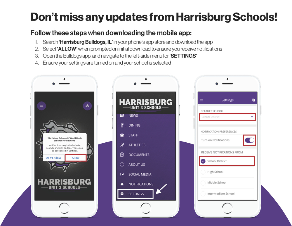 Make sure to enable push notifications to receive updates to your child's school.
