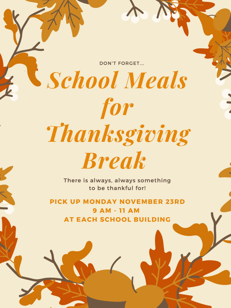 Thanksgiving break fall meals flyer